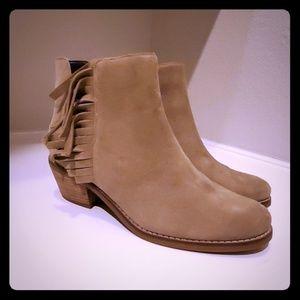 Camel colored suede fringe boots